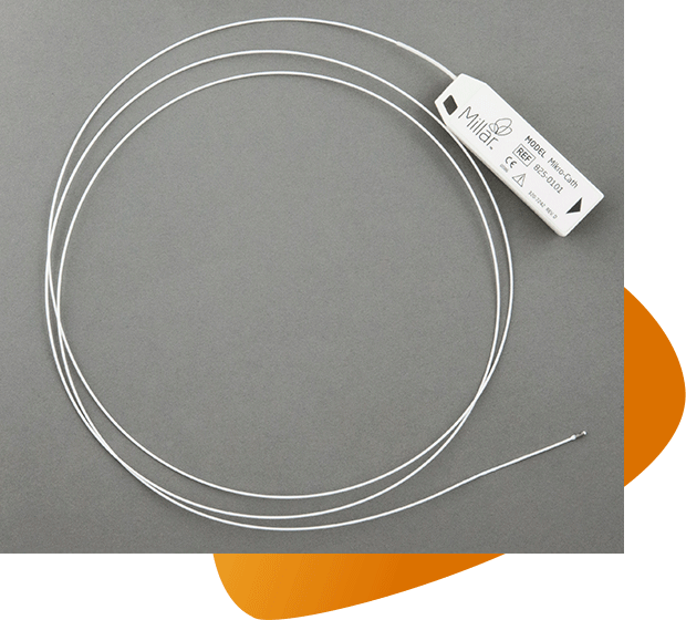A product shot of Millar's Mikro-Cath disposable catheter with a graphic background