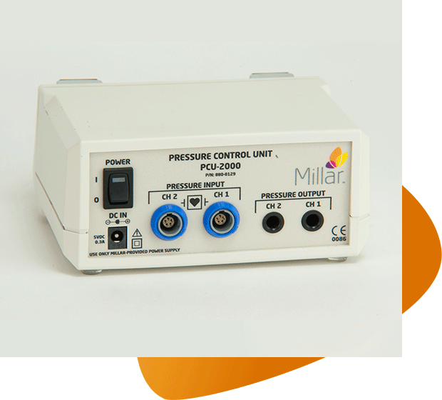 A product shot of the PCU-2000 Pressure Control Unit with Patient Isolation on a graphic background